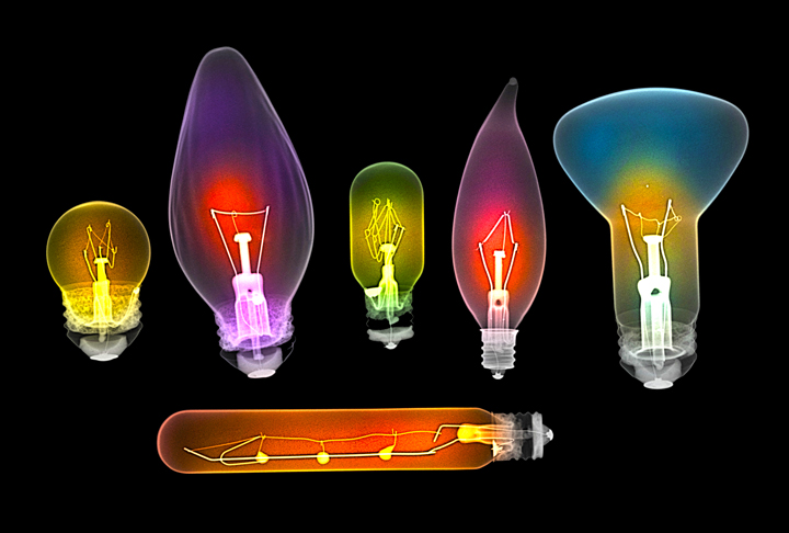 Assorted light bulbs, X-ray. Photo credit © Dr Paula Fontaine 2014