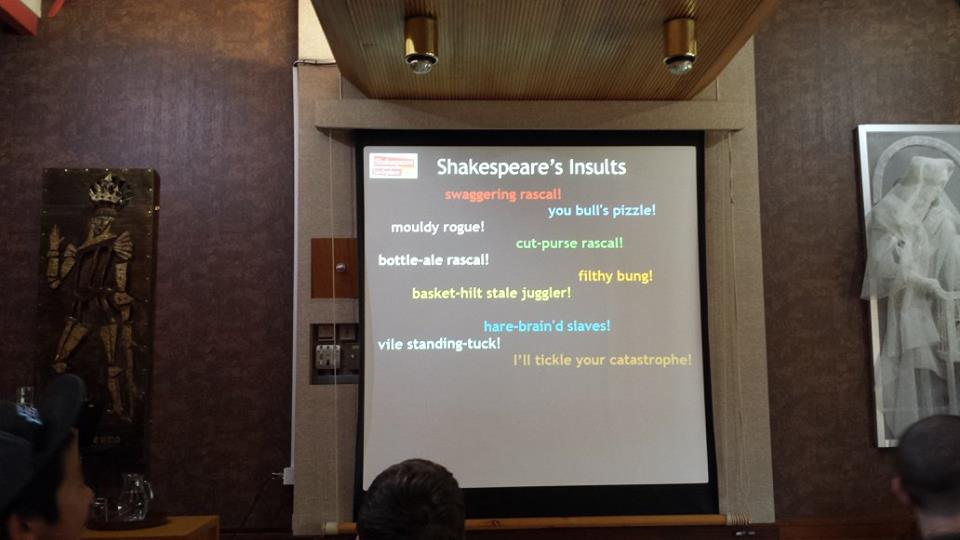 Shakespeare's Insults, part of a talk at Shakespeare's Birthplace. Photo credit © L Rowe 2015